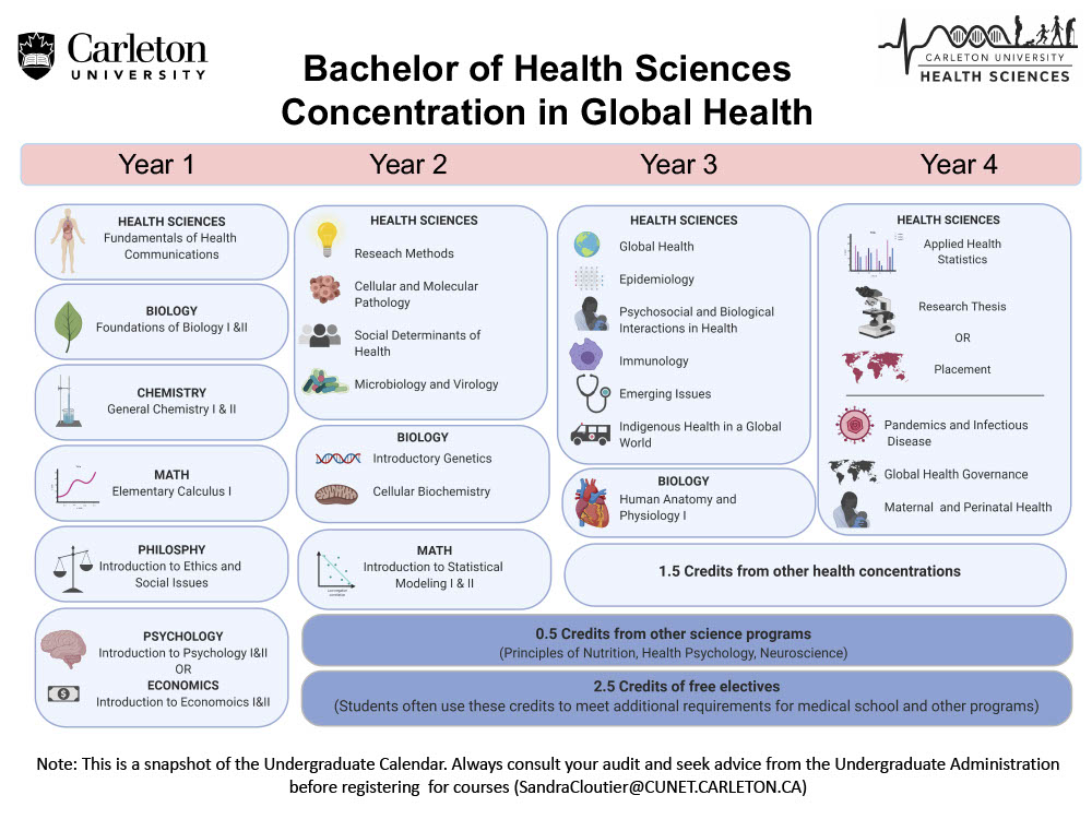 Course map for Bachelor of Health Sciences Concentration in Global Health