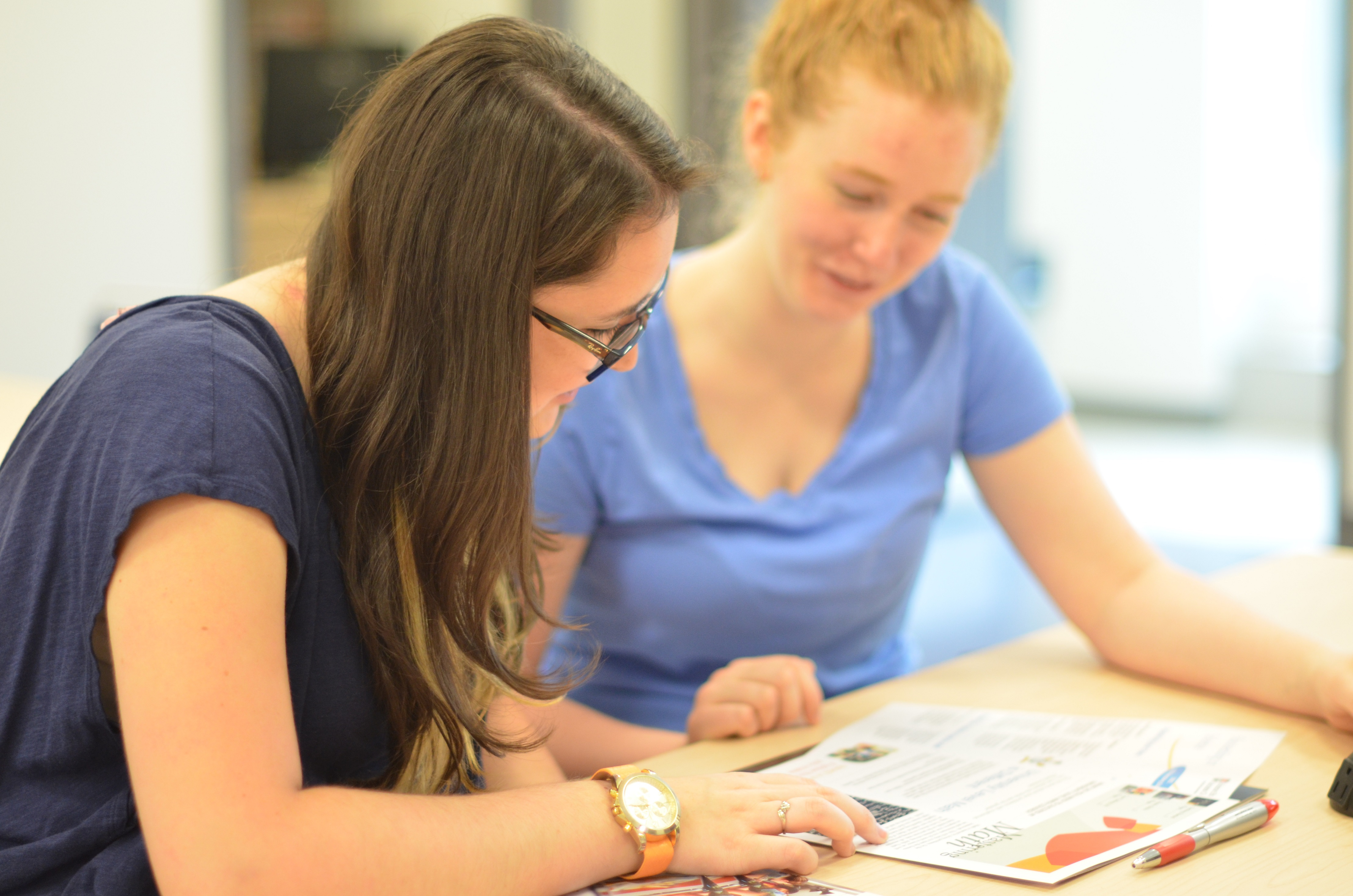 A student receiving mentoring
