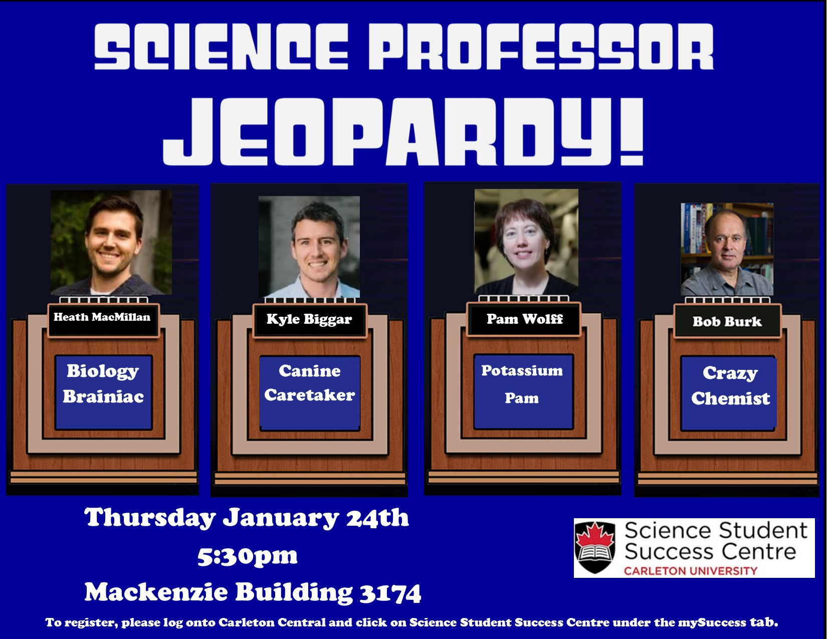 Poster for Science Jeopardy, featuring Heath McMillan, Kyle Biggar, Pam Wolff and Bob Burk